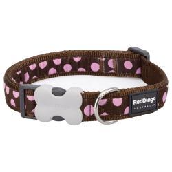 Red Dingo Pink Spots Brown Large Dog Collar