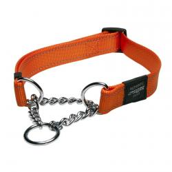 Rogz Utility Snake Orange Half-Check collar - Medium