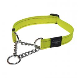 Rogz Utility Fanbelt Dayglo Yellow Half-Check Collar - Large