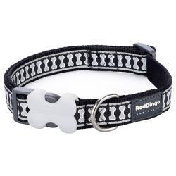 Red Dingo Reflective Black Medium Dog Collar