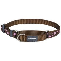 Red Dingo Pink Spots Brown Medium Martingale Collar