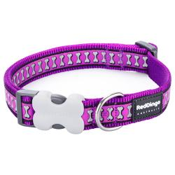 Red Dingo Reflective Purple Medium Dog Collar
