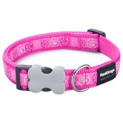 Red Dingo Paw Impressions Hot Pink Medium Dog Collar