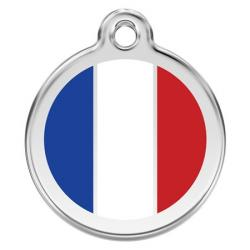 Red Dingo Dog ID Tag French Flag Small