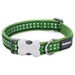 Red Dingo Reflective Green Medium Dog Collar
