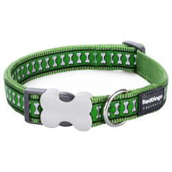 Red Dingo Reflective Green Large Dog Collar