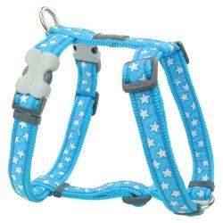Red Dingo Stars White on Turquoise Medium Dog Harness