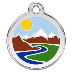 Red Dingo Dog ID Tag Mountains Small