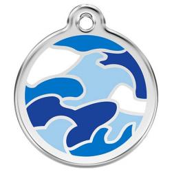 Red Dingo Dog ID Tag Camouflage Blue Small