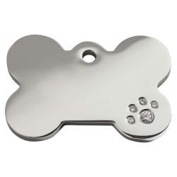 Red Dingo Dog ID Tag Diamante Bone Medium