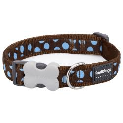Red Dingo Blue Spots Brown Small Dog Collar