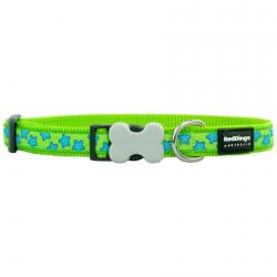 Red Dingo Stars Lime Small Dog Collar
