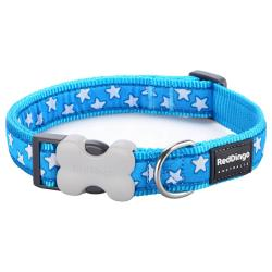 Red Dingo Stars Turquoise Small Dog Collar