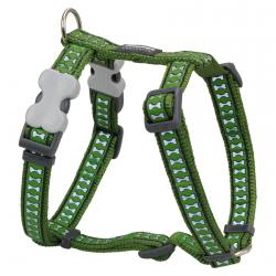 Red Dingo Reflective Green Small Dog Harness