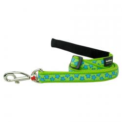 Red Dingo Stars Lime dog lead 100-180 cm Small