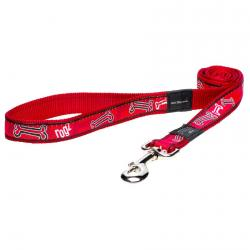 Rogz Fancy Dress Armed Response dog leash 4 ft XLarge / Red Bones