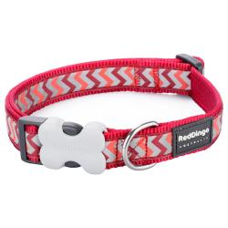 Red Dingo Reflective Ziggy Red Medium Dog Collar